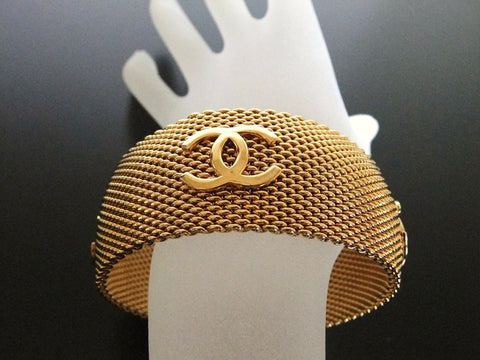 Authentic Vintage Chanel cuff bracelet bangle gold CC