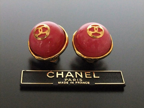 Authentic vintage Chanel earrings CC pink stone