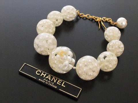 Authentic Vintage Chanel bracelet bangle CC pearl clear ball