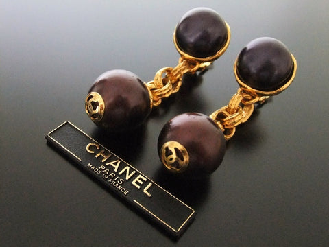 Authentic vintage Chanel earrings gold CC purple pearl dangle chain