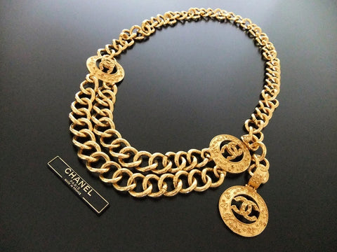 Authentic Vintage Chanel belt necklace gold CC pendant large