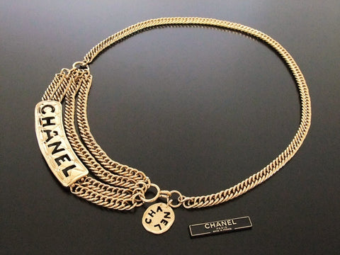 Authentic Vintage Chanel belt chain necklace gold logo plate