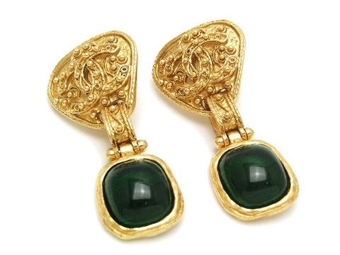 Authentic vintage Chanel earrings gold CC green glass stone dangle