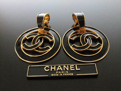 Authentic vintage Chanel earrings swing black CC large