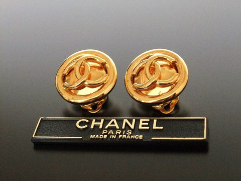 Authentic vintage Chanel earrings gold CC round small