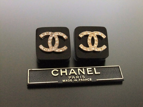 Authentic vintage Chanel earrings rhinestone CC black square