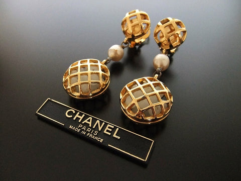 Authentic vintage Chanel earrings gold swing pearl huge