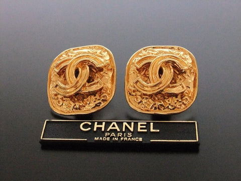 Authentic vintage Chanel earrings gold CC logo rectangle