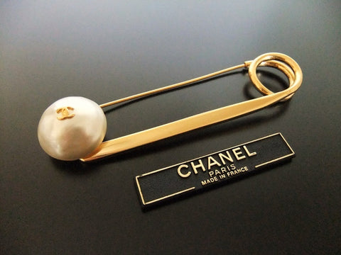 Authentic vintage Chanel pin brooch gold CC pearl safety pin