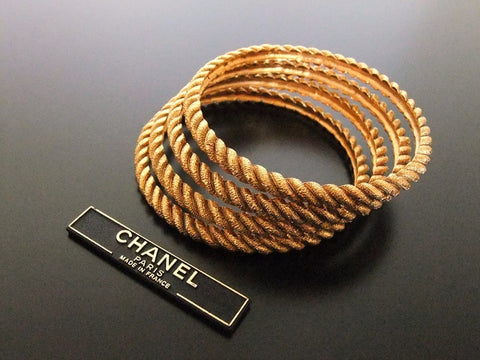 Authentic Vintage Chanel cuff bracelet bangle gold 4 twisted