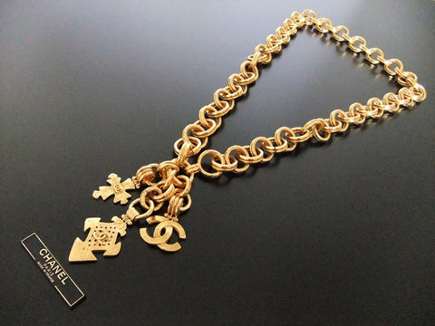 Authentic vintage Chanel necklace chain belt gold CC 3 pendants huge