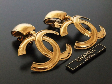 Authentic vintage Chanel earrings gold huge swing CC