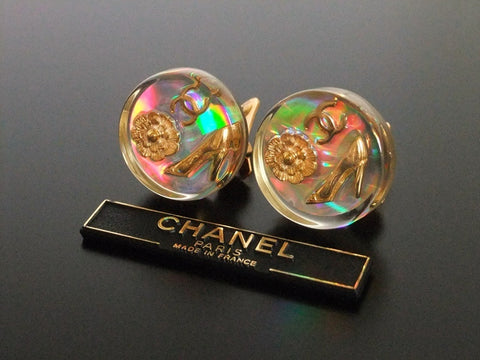 Authentic vintage Chanel earrings gold CC camellia heels plastic round