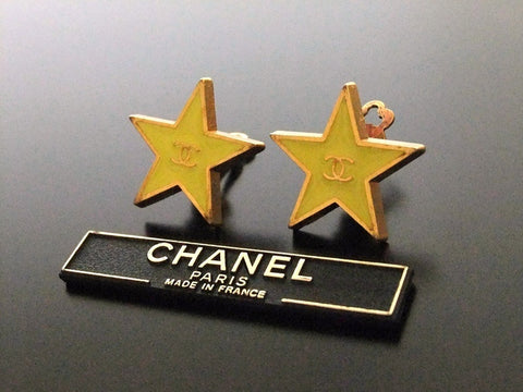 Authentic vintage Chanel earrings gold CC yellow star