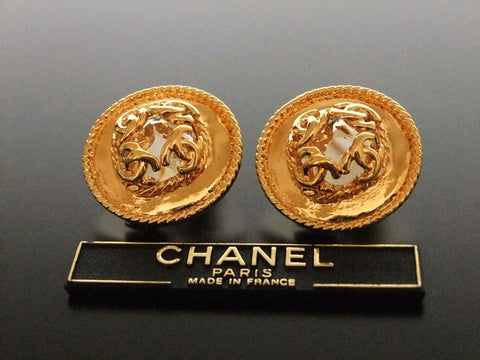 Authentic vintage Chanel earrings gold CC rhinestone round