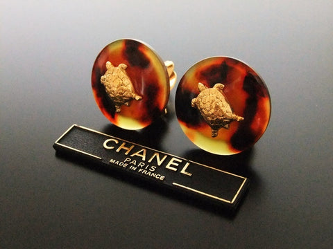 Authentic vintage Chanel earrings gold turtle brown plastic round