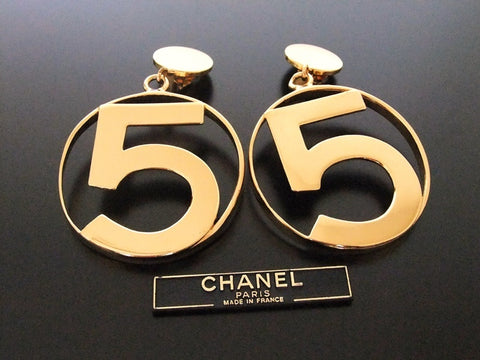 Authentic vintage Chanel earrings swing gold No.5 huge