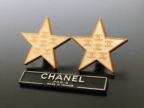 Authentic vintage Chanel earrings gold CC white star large