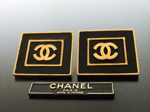 Authentic vintage Chanel earrings gold CC black quad large
