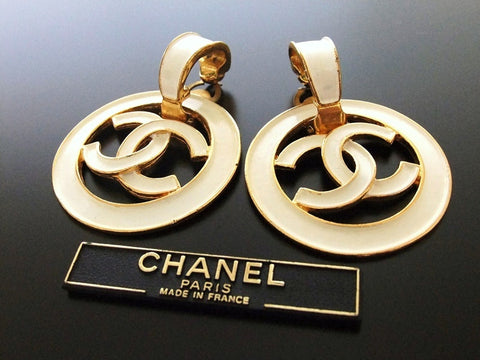 Authentic vintage Chanel earrings white swing CC large