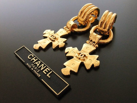 Authentic vintage Chanel earrings swing CC cross huge
