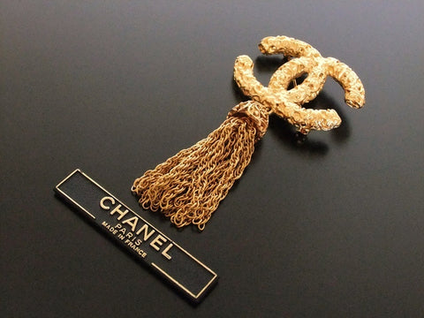 Authentic vintage Chanel pin brooch CC tassel fringe