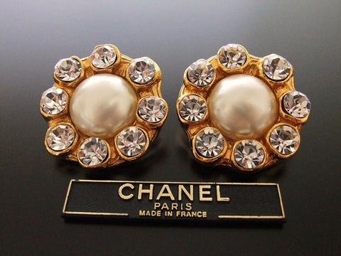 Authentic vintage Chanel earrings pearl rhinestone large