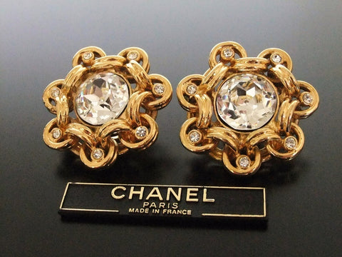 Authentic vintage Chanel earrings gold large rhinestone