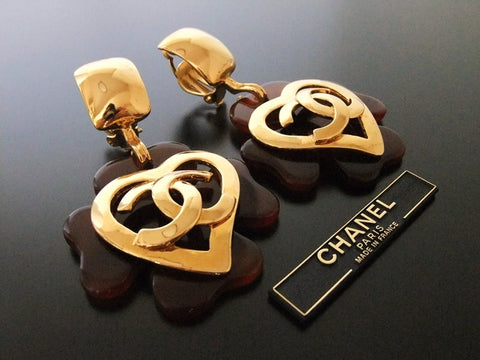 Authentic vintage Chanel earrings gold heart CC dangle swing