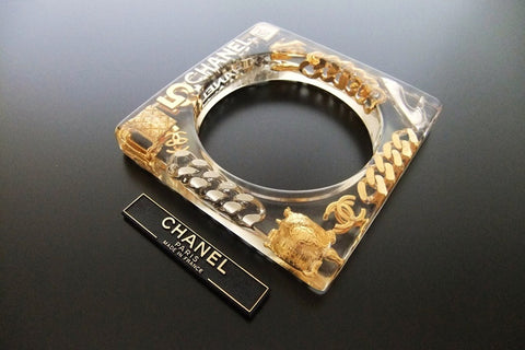 Authentic Vintage Chanel cuff bracelet bangle CC icon charm clear rare