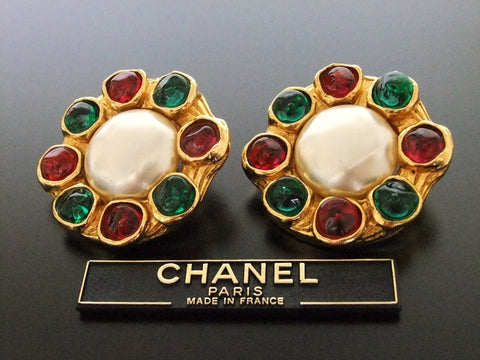 Authentic vintage Chanel earrings red green gripoix glass pearl