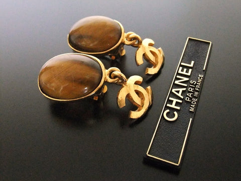Authentic vintage Chanel earrings gold CC brown stone dangle