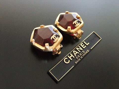 Authentic vintage Chanel earrings red plastic stone gold CC