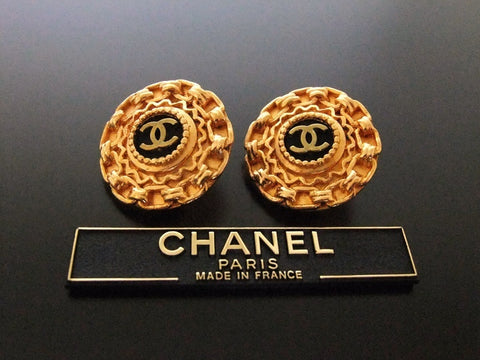 Authentic vintage Chanel earrings black gold CC round
