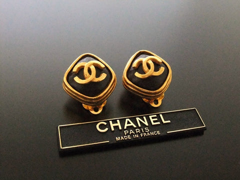 Authentic vintage Chanel earrings gold CC brown