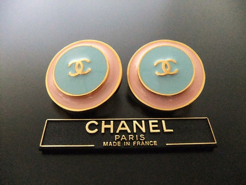 Authentic vintage Chanel earrings gold CC light pink blue round