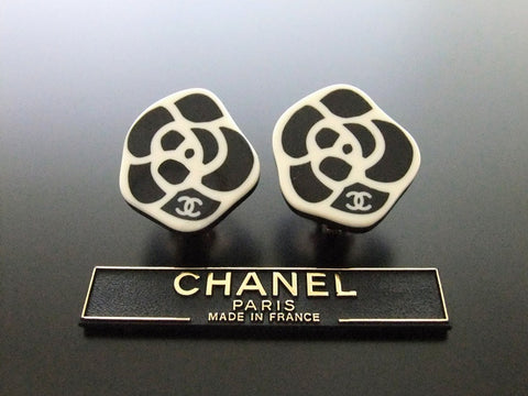 Authentic vintage Chanel earrings CC black white camellia