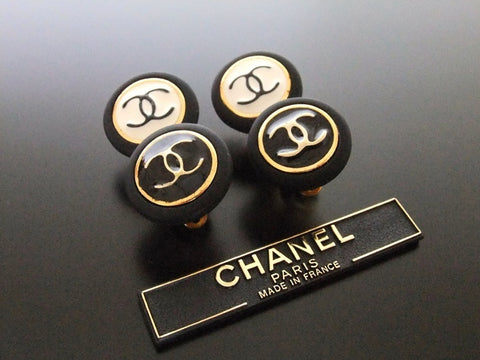Authentic vintage Chanel earrings black white double CC large