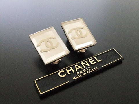 Authentic vintage Chanel earrings CC mirror rectangle