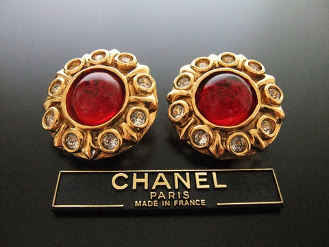 Authentic vintage Chanel earrings red glass stone rhinestone