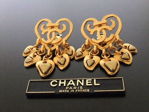 Authentic vintage Chanel earrings heart CC swing gold pearl large