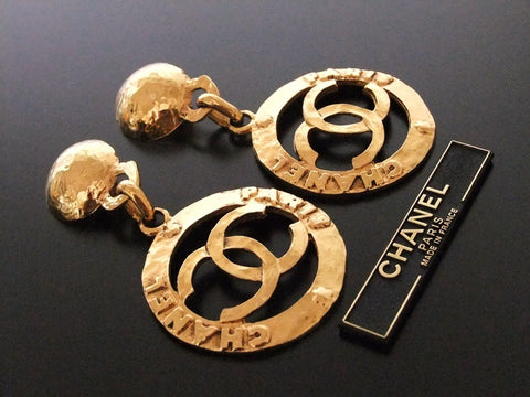 Authentic vintage Chanel earrings gold swing CC hoop dangle huge