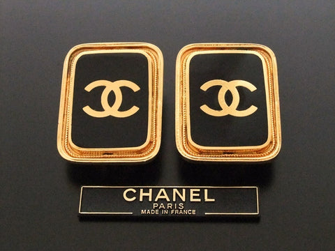 Authentic vintage Chanel earrings gold CC black quad