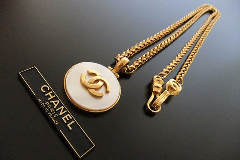 Authentic vintage Chanel necklace chain choker CC white stone pendant