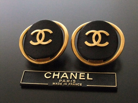 Authentic vintage Chanel earrings gold CC black leather round
