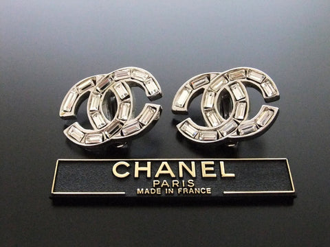 Authentic vintage Chanel earrings silver rhinestone CC small
