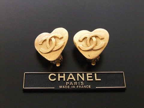 Authentic vintage Chanel earrings gold CC heart small