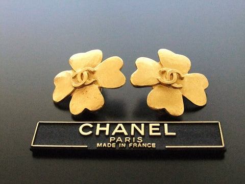 Authentic vintage Chanel earrings gold CC clover