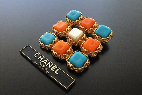 Authentic vintage Chanel pin brooch pearl & red light blue stone