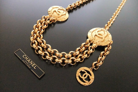 Authentic Vintage Chanel belt chain necklace gold CC pendant